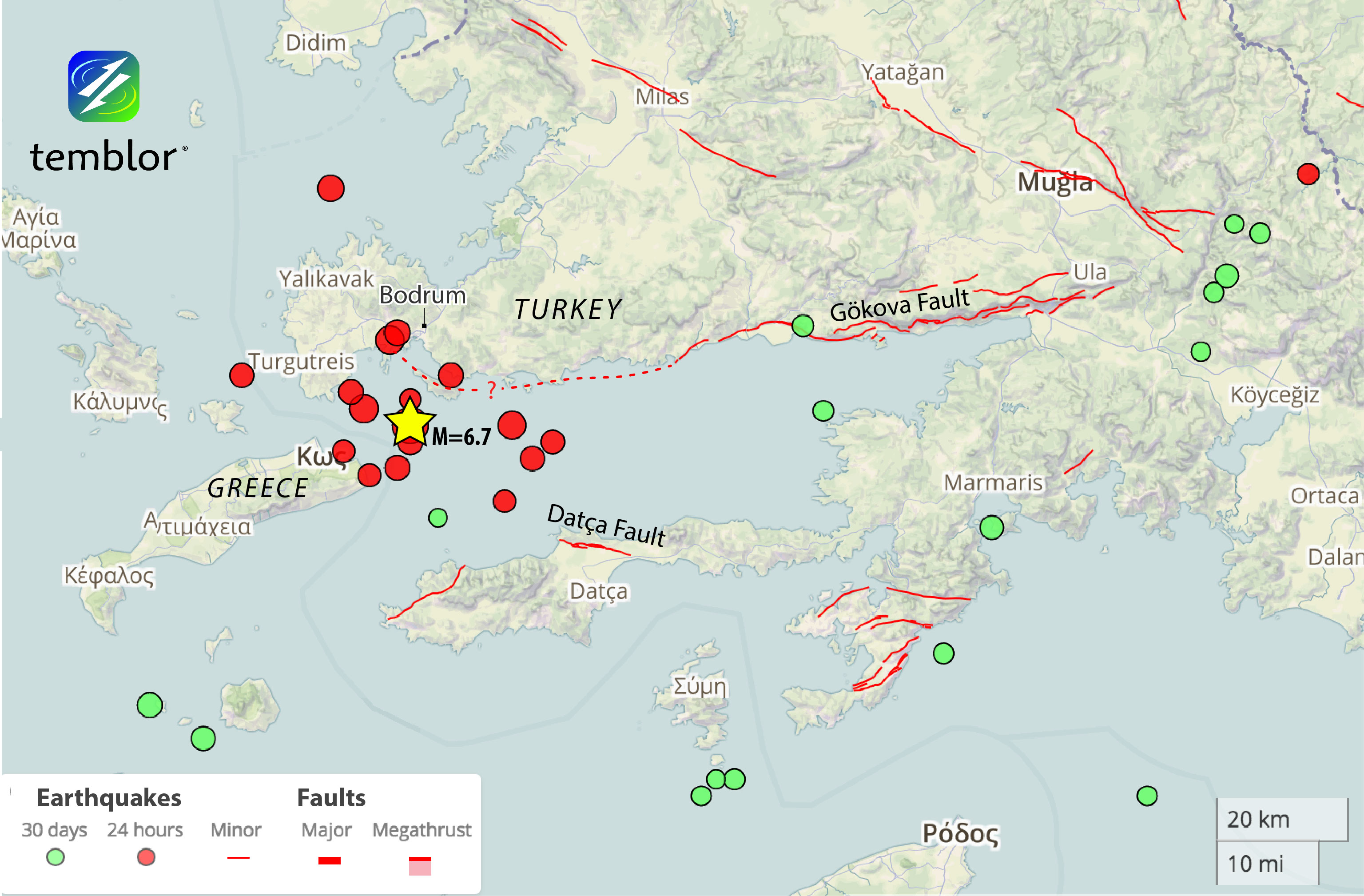 Earthquakes are from the European Mediterranean Seismic Centre (EMSC), and the faults are from the Turkish Mineral Research and Exploration Institute (MTA). We have dotted in the likely westward extension of the Gökova Fault. However, Kurt et al (1999) propose a set of smaller faults offshore, which could have instead been activated in this event.