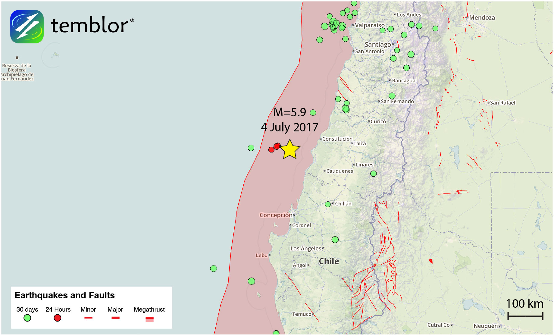 Chile-earthquake-location-map