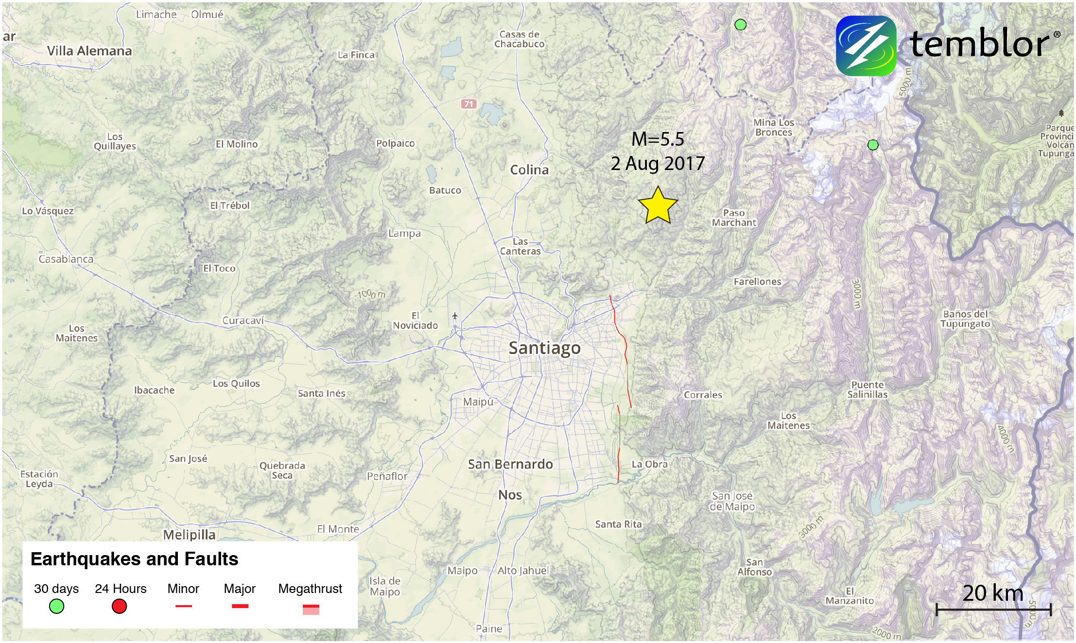 Santiago-earthquake-map