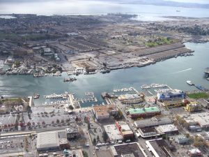 aerial photo of alameda from a blimp