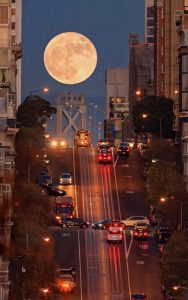 Supermoon at California Street Composition, San Francisco