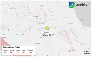 Este mapa, proporcionado por Temblor, presenta la ubicación del terremoto de M=7.1 de hoy, que ocurrió justo al sur de la capital del país, la Ciudad de México.
