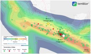 Este mapa, proporcionado por Temblor, presenta el modelo de Calificación Global de Actividad de Terremotos (GEAR) para gran parte de México, así como también las ubicaciones del terremoto de M=7.1 de hoy y, el sismo de M=8.1 que ocurrió hace menos de 2 semanas antes. Lo que este mapa presenta con base en sus magnitudes, ambos sismos deben considerarse relativamente sorpresivos.