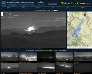 This figure shows how one of the AlertTahoe cameras can, in real-time, detect a lighting –strike fire (see bulls-eye on map) and display its location to firefighters, emergency management, and the public. This early detection and situational awareness can be vital in preventing a fire from spreading.