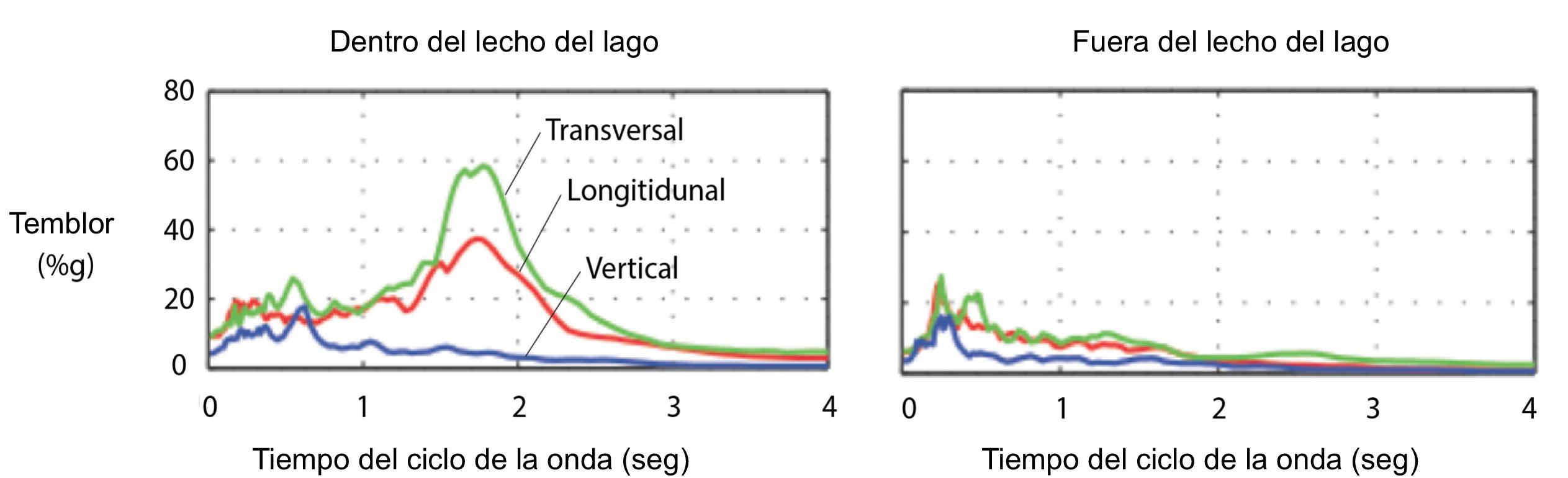 Estas gráficas muestran agitación tanto dentro del centro de la Ciudad de México (dentro del lecho del lago –estación SCT2) y sobre las afueras de la ciudad (Estación TACY. (Datos de la UNAM)
