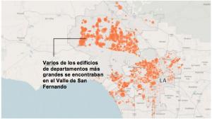 Esta figura de Los Angeles Times presenta los 13,500 edificios con niveles débiles en y alrededor de Los Angeles. La lista de edificios es actual, a partir de abril de 2016 y refleja los edificios que necesitan inspeccionarse para ver si necesitan fortalecerse. En estas áreas, el intervalo de Clasificación de Amenazas de Temblor es de 52-86.