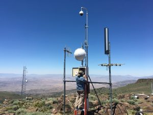 This picture shows the installation of one of the AlertTahoe cameras for use in increased fire monitoring and safety. This system relies on microwave telemetry, which is also what earthquake early warning will need, meaning the systems will be able to piggy-back off one another. (Photo from: Dr. Graham Kent)