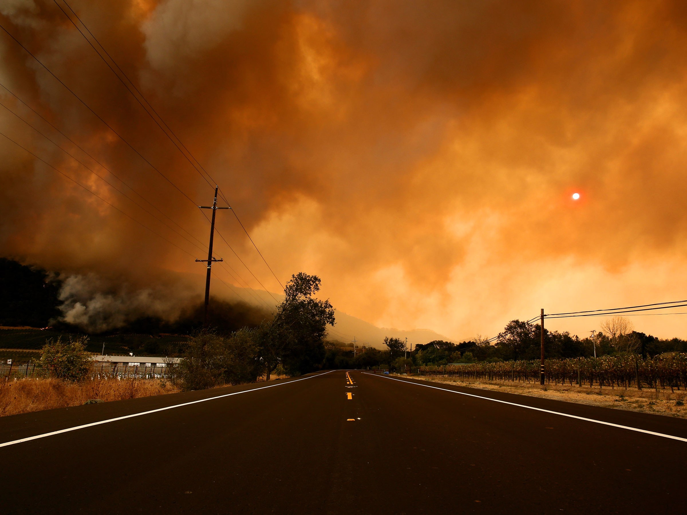Fires in Sonoma, Napa, and Santa Rosa have burned more the 170,000 acres and forced over 20,000 people to evacuate. (Photo from: Wired)