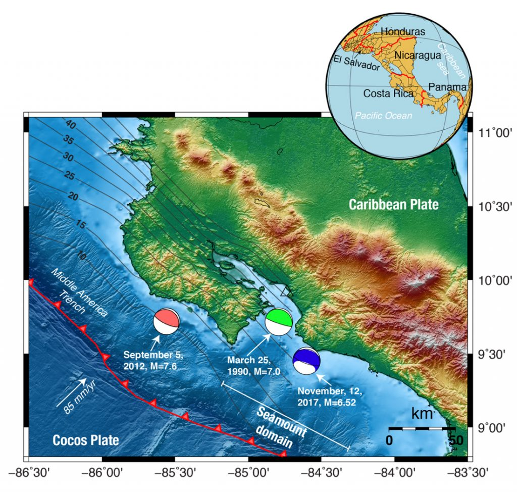 Figure 1. Map displaying the epicenter location of three of the largest events generated along the Pacific subduction zone in Costa Rica and the seamount domain along the central Pacific subduction zone.