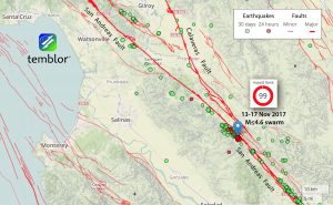 Location of last Monday's magnitude 4.6 shock and previous earthquakes along the creeping section, which extends southeast from San Juan Bautista (top center).