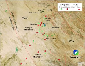 The highest causalities on the Iranian side appear to be from the Iranian city of Sarpol Zahab, with a population of approximately 35,000, which lies about 50 km south of the epicenter.