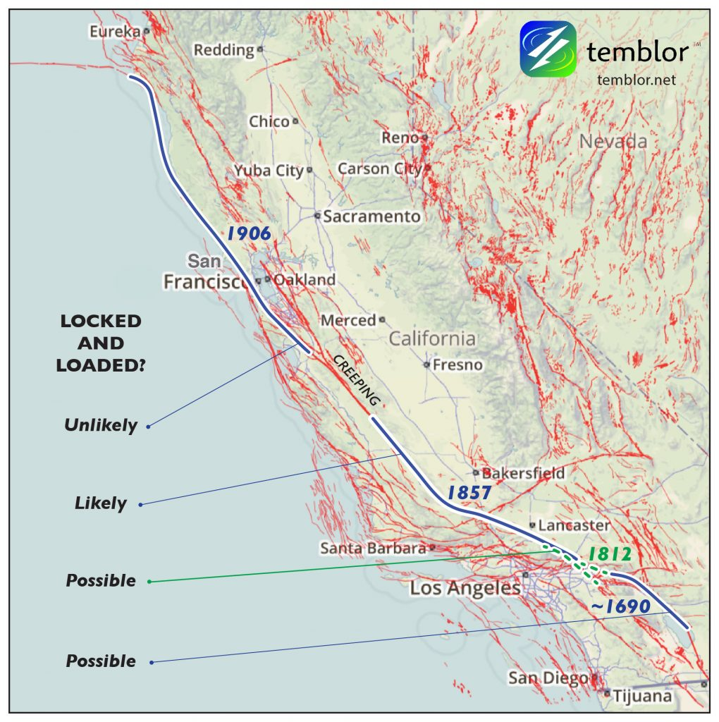 Temblor map of San Andreas Fault
