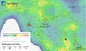 This Temblor map shows the Global Earthquake Activity Rate (GEAR) model for Iran and the surrounding region. This model uses global strain rates and the last 40 years of seismicity to forecast the likely earthquake magnitude in your lifetime anywhere on earth. In the area around the epicenter of last night's quake, that magnitude is M=6.25+.