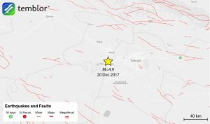 This Temblor map shows the location of last night's M=4.9 earthquake just west of Iran's capital city of Tehran. Based on early reports, two people have died, and dozens more were injured in this quake.