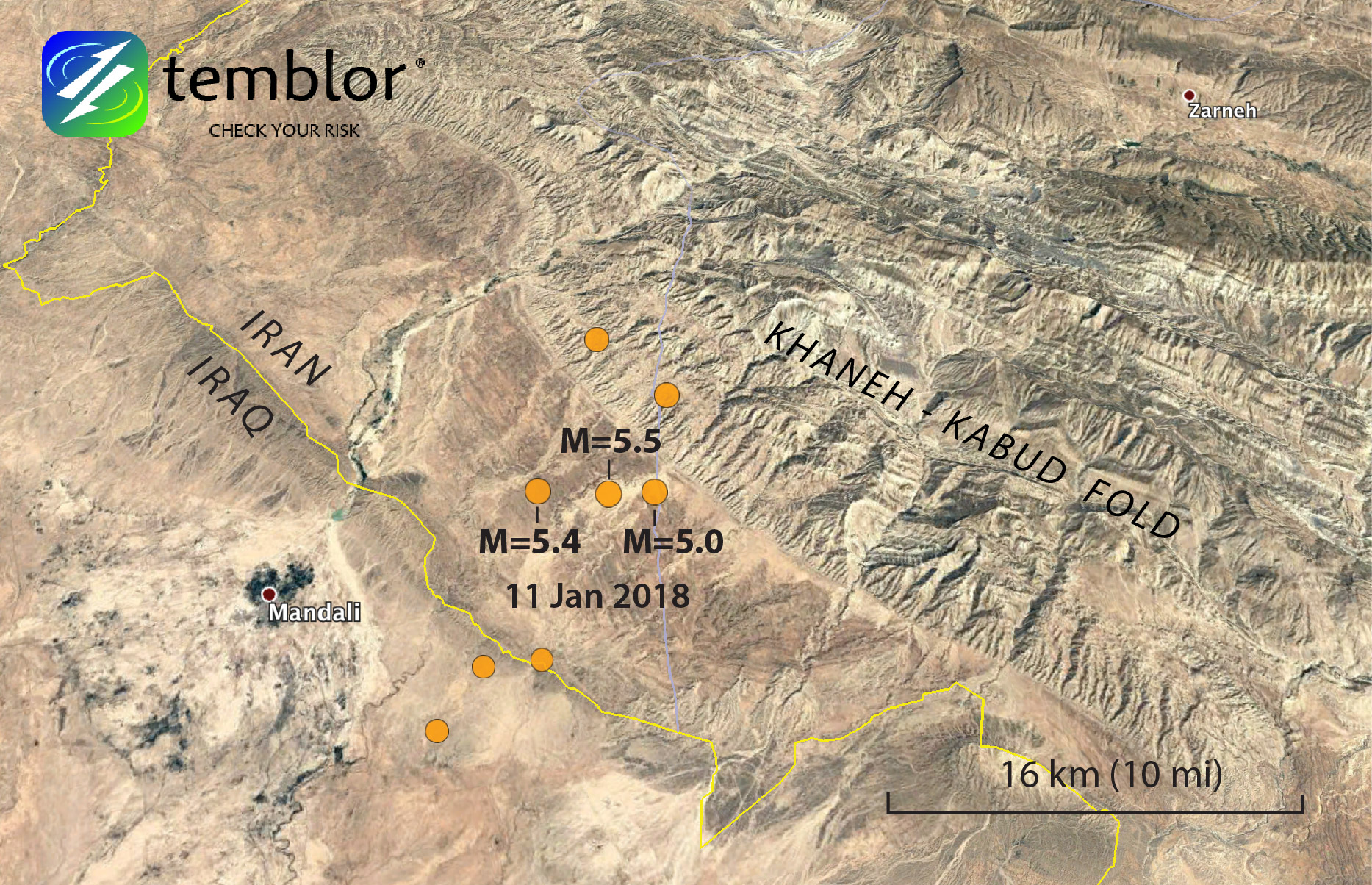This Google Earth image shows USGS locations of the series of earthquakes to strike the Iran-Iraq border this morning.