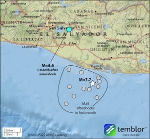 2001 El Salvador quake map