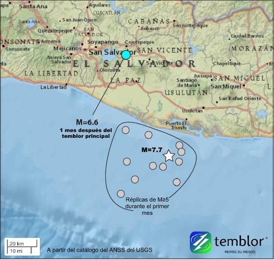 Este mapa de Temblor presenta la ubicación de los dos grandes terremotos que ocurrieron en 2001 en El Salvador, lo cual impulsó al presidente George W. Bush a agregar a El Salvador a la lista de países con estatus de protección temporal. Tanto el temblor principal como la lejana réplica de M=6.6 ocasionaron destrucción.
