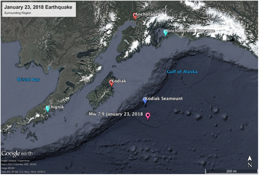 The earthquake struck oceanward of the Alaskan Trench, near a string of seamounts, the nearest of which is the Kodiak seamount. These extinct seafloor volcanoes tend to resist subduction, adding local stresses to the crust that could have contributed to the surprising strike-slip character of the mainshock.