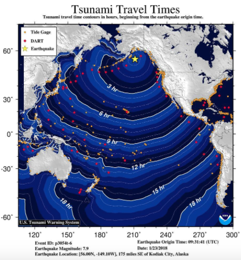 Tsunami travel times across the Pacific from the M=7.9 Alaska earthquake.