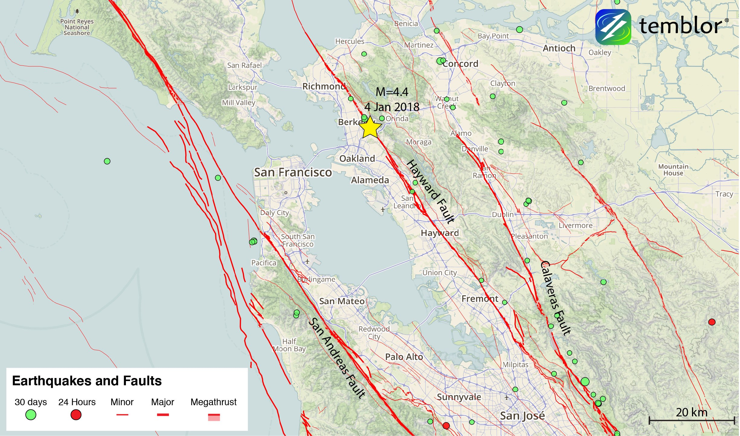 This Temblor map shows the location of last night's M=4.4 earthquake beneath Berkeley. Despite its moderate magnitude, shaking was felt over the entire Bay Area.