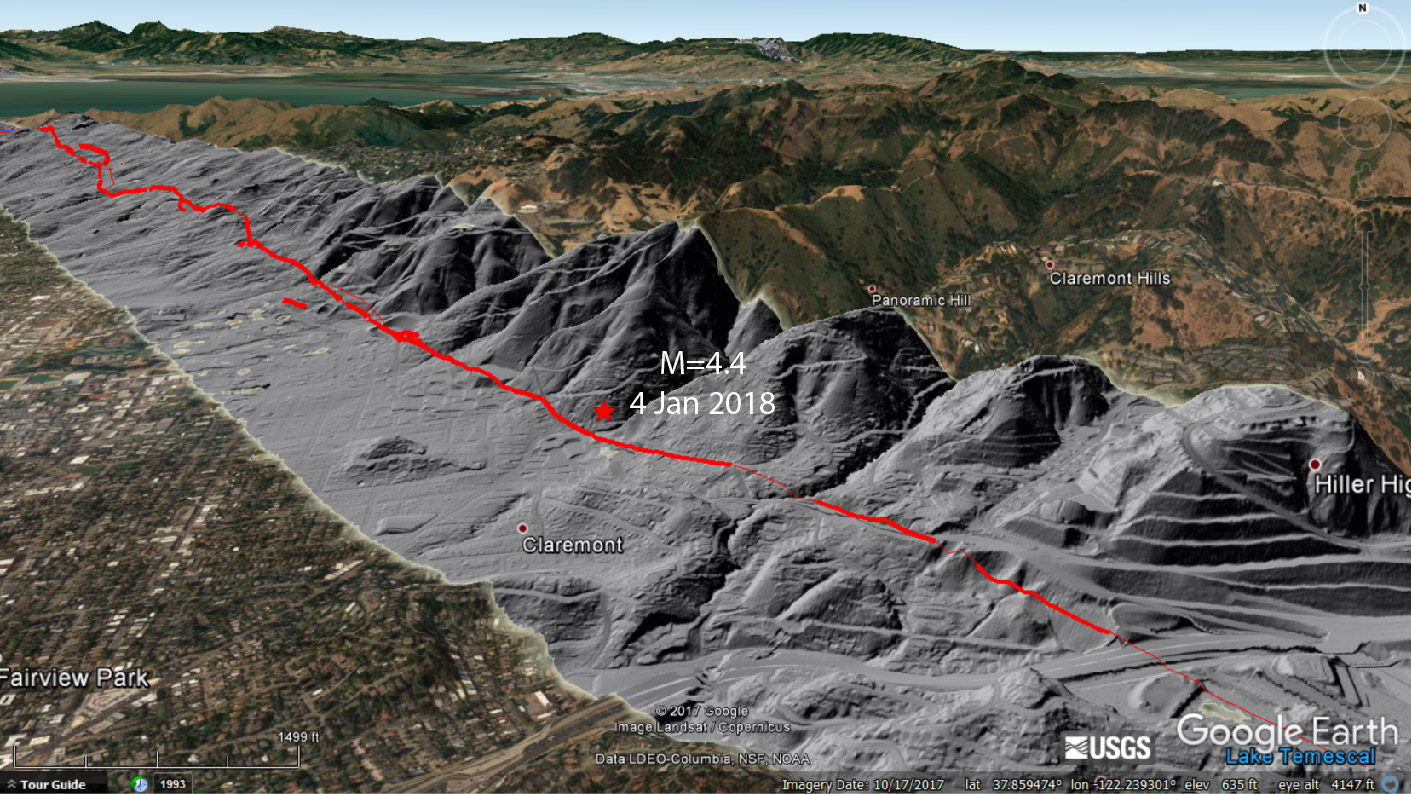 This figure shows LiDAR topographic imagery of the Hayward Fault, as well as the location of this morning's earthquake. This quake struck in an area where fault creep observed. However, at the depth at which this quake occurred (13 km or 8 mi), the fault is believed to be locked.