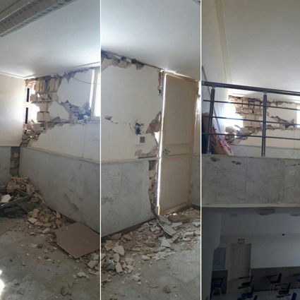 Damage caused by thing morning's earthquakes along the Iran-Iraq border.