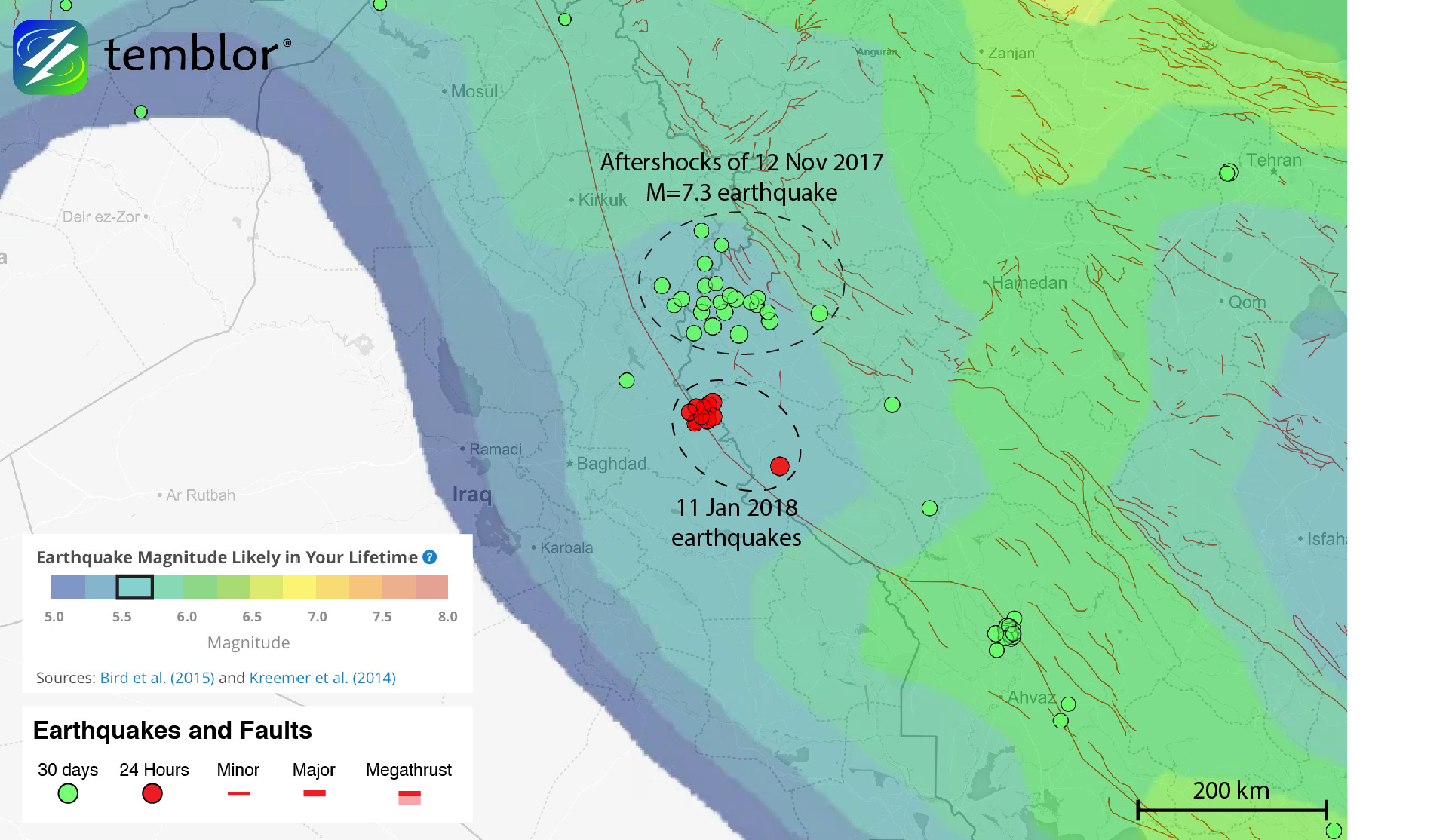 This Temblor map shows the Global Earthquake Activity Rate (GEAR) model for much of Iran and Iraq. This shows how today's earthquakes should not be considered surprising, as M=5.5+ quakes are likely in your lifetime.