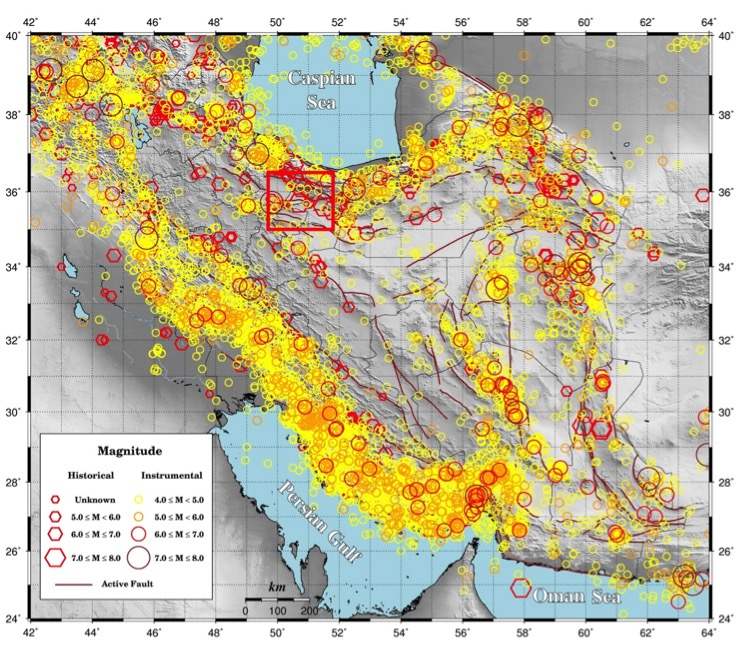 The distribution of historical (Ambraseys and Melville, 1982) and instrumental (1900- present) seismic events in Iran. The area in red rectangle is presented in figure 3 with more details.