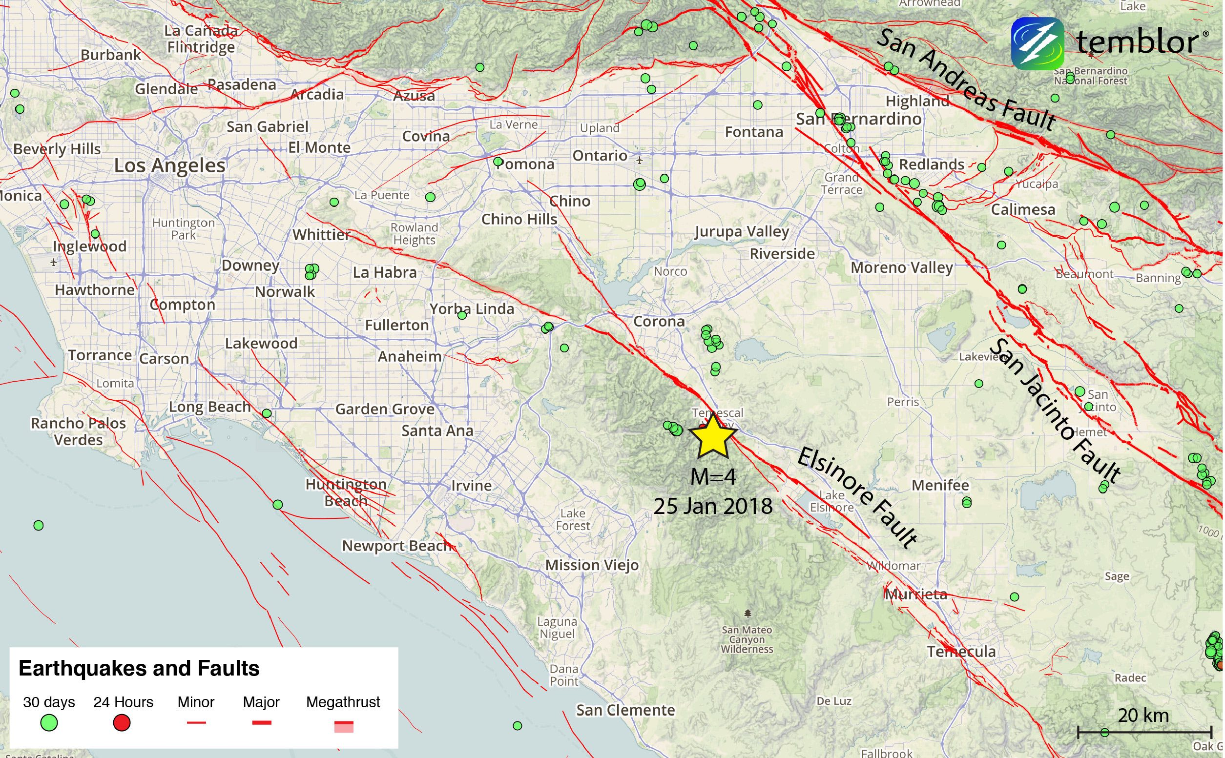 m=4 southern california earthquake highlights elsinore