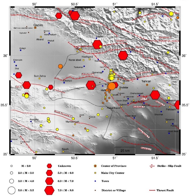 Anomalous seismic activity from 2017/10/23 to 2017/12/20 (yellow circles) and 20 Dec. 2017 Malard Earthquake and the seismic series after that (orange circles) western Tehran and southern Karaj. The red hexagons show historical events (Ambraseys and Melville, 1982). Robat Karim fault is from Talebian et al, 2009 and other faults are from Hessami et al, 2003.