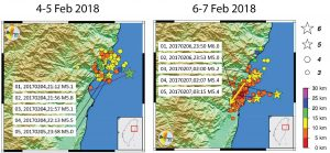 The figure above show the aftershock sequences following both M=6+ earthquakes off the eastern coast of Taiwan in the last 4 days. What is important to note is that while the aftershock sequence following the M=6.1 on Feb. 4 is more of a smear, with most earthquakes occurring at a depth of 10-15 km, the aftershocks from Tuesday's M=6.4 are shallower and have a directionality to the southwest.