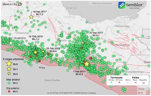 Cinco terremotos de M≥6 han azotado a México desde el 7 de septiembre de 2017. En los últimos 30 días, hubo una cifra sorprendente de 3200 temblores de M≥3 en el centro de México, mientras que en California hubo sólo 20 temblores de M≥3. La Ciudad de México se ubica en la parte superior izquierda del mapa.