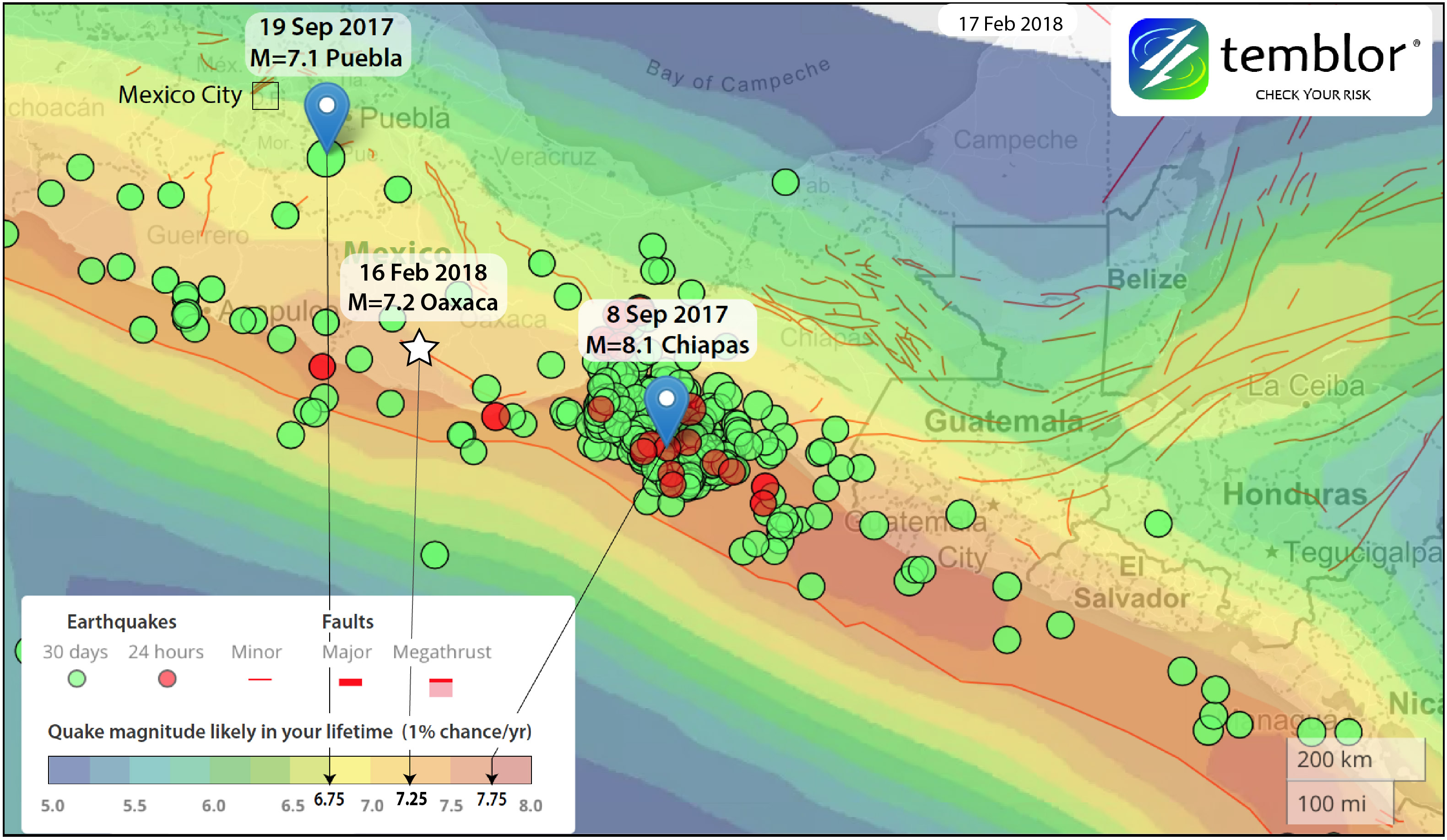 This Temblor map shows the Global Earthquake Activity Rate (GEAR) model for much of Mexico. This model uses global strain rates and the last 40 years of seismicity to forecast the likely earthquake magnitude in your lifetime anywhere on earth. The map also highlights the locations of the three large, recent Mexico earthquakes and their relative ratings on the GEAR scale.