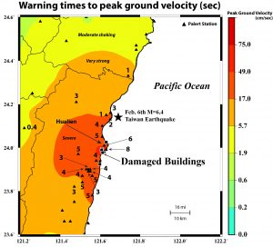This figure shows how long the warning times were before the peak ground velocity occurred in last week's M=6.4 Eastern Taiwan earthquake. These times were recorded by Palert devices, which are standalone P-wave alarm detectors invented by Prof. Yih-Min Wu at National Taiwan University. They work by detecting the faster but less violent P-waves, to warn against the slower but more violent S-waves.