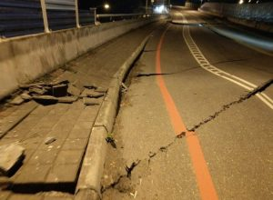 buckled roads taiwan earthquake
