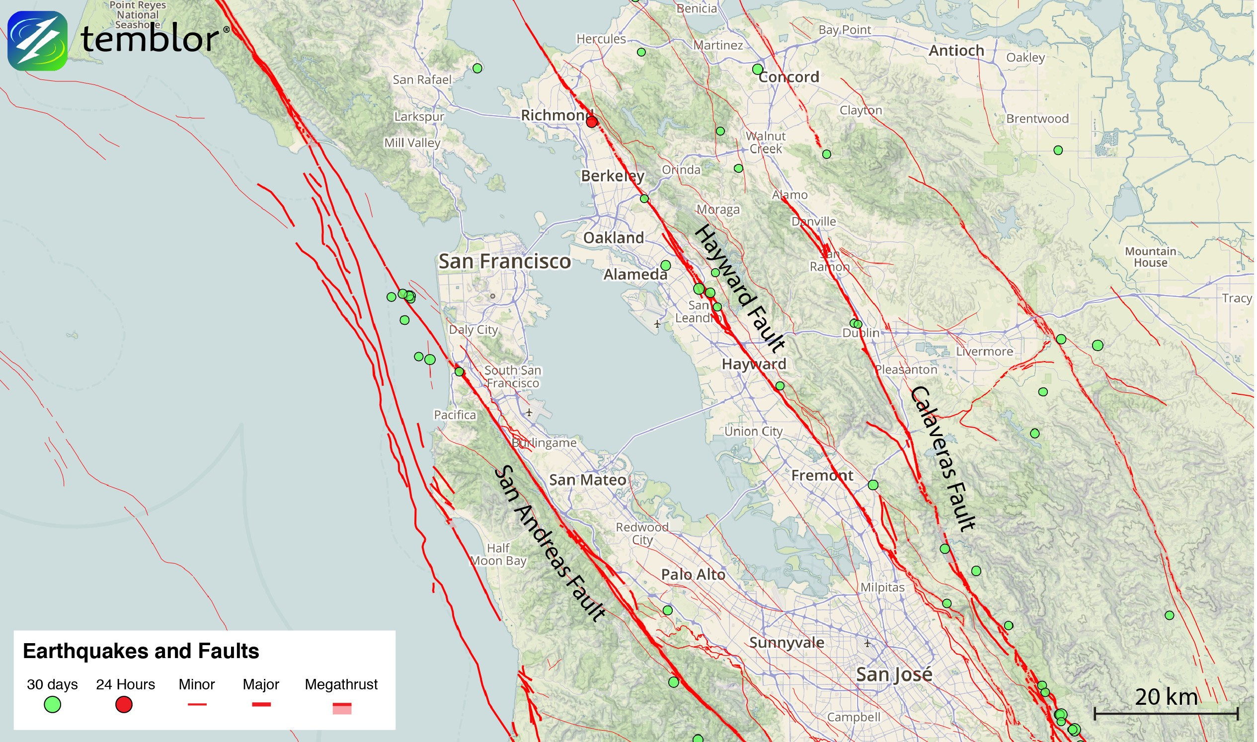 Bay Area Fault Map : Here's a map of the significant fault lines and strong earthquakes in the bay area.