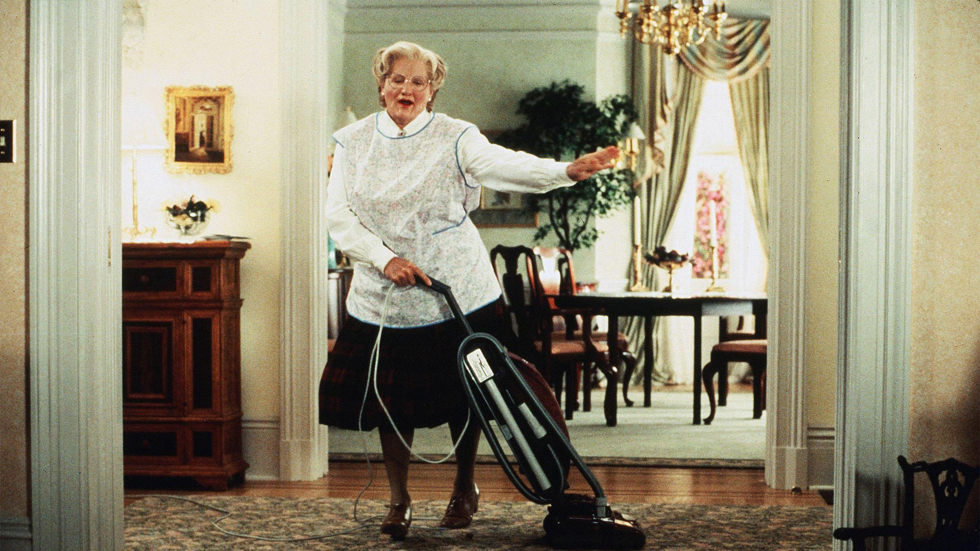 "Robin Williams in ""Mrs. Doubtfire,"" working under cover to care for his children. The famous restaurant scene, where Mrs. Doubtfire performs the Heimlich maneuver on Pierce Brosnan, was filmed at a Danville restaurant."