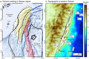 This figure from Huang et al., 2010 shows the generalized tectonic setting of Taiwan, as well as a zoomed in map of the Longitudinal Valley Fault. Yesterday's M=6.1 earthquake has been added to these maps with a yellow star. What is evident from these maps is that yesterday's event occurred very close to three historic offshore earthquakes. In the left map, the red area marks the surface trace of the 1951 earthquakes.