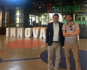 Seismic engineer Jorge Crempien and seismologist Roberto Beneventi at the Innovation Center of Pontificia Católica Universidad. This exciting on-campus incubator fuels startups with industry funding and participation. The Center's rooftop restaurant also has the best view of the San Ramón Thrust Fault that rims the city.