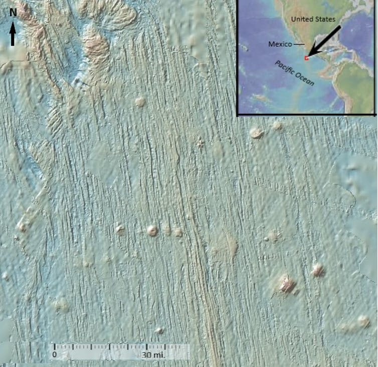 High-resoulution images of the Pacific Ocean seafloor off Mexico's coast reveals that the subducted plate there has a linear texture comprised of ridges, valleys and bumps. This 'fabric' continues when the plate slides beneath the Mexican mainland and then angles downward, plunging itself into deep into the Earth's mantle. 'Bending' earthquakes are most likely to occur where the plate bends in the same northwest-to-southeast direction as its ridges and valleys run.  Global Multi-Resolution Topography Data Synthesis, CC BY-NC-SA