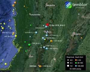 This Temblor map shows the historic seismicity around the location of today's earthquake in central Colombia. What is evident from this map is that today's quake should not be considered out of the ordinary as there have been several larger magnitude quakes in the same area.
