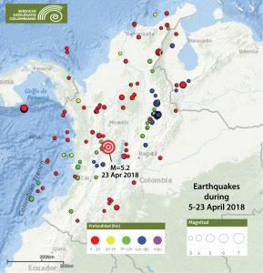 Mapa del servicio sismológico de Colombia en donde se muestra las últimas 2.5 semanas de actividad sísmica en todo el país. El mapa nos muestra que Colombia ha experimentado numerosos eventos tanto superficiales como profundos. En el caso de un evento de gran magnitud y cercano a la superficie, los daños podrían ser significativos.