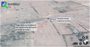 Esta imagen de Google Earth muestra la ubicación de la carretera que colapsó cerca del pueblo de Mai Mahiu, justo al oeste de Nairobi. Esta foto también parece mostrar evidencia de la grieta, la cual se señala con flechas de color rojo. Este rasgo lineal parece corresponder con la orientación de la grieta en la foto de arriba.