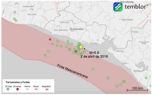 Este mapa de Temblor presenta la ubicación del terremoto de M=5.9 del lunes, costa afuera de El Salvador. Afortunadamente, este terremoto no ocasionó daños, a pesar de que ocurrió casi en la ubicación exacta de un mortal terremoto M=7.7 en 2001.