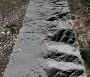 The Hayward Fault cuts straight through the UC Berkeley football stadium. Beginning in 2010 and completed n 2012, the stadium underwent an extensive retrofit to make the stadium safer in the event of an earthquake. (Photo from: USGS)