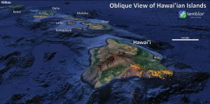 Hawai'i as seen in Google Earth, 3X vertical exaggeration. One week of earthquakes from USGS (orange dots)