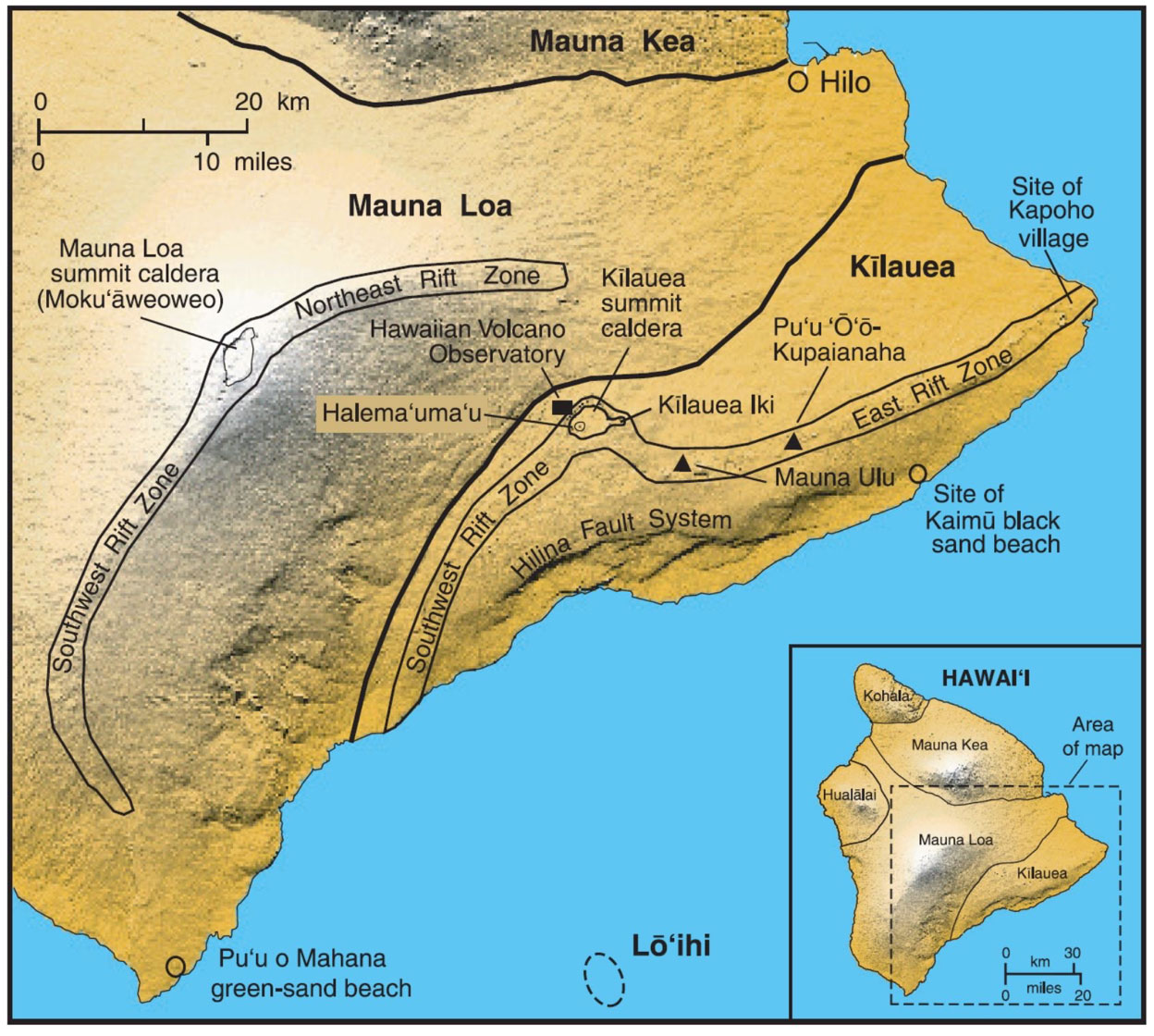 Map showing the major volcanic centers, rift zones, and fault systems in Hawai'I (USGS, 2010).