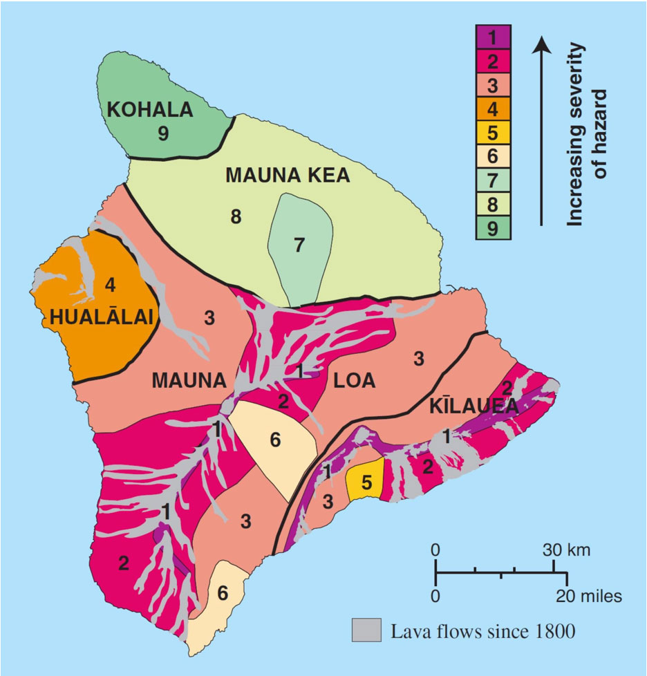 Map of Island of Hawai'i showing the volcanic hazards from lava flows (USGS, 2010).
