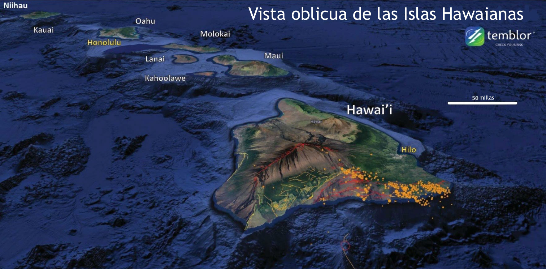 Hawái tal como se ve en Google Earth, exageración vertical 3X. Una semana de terremotos a partir del USGS (puntos naranjas).