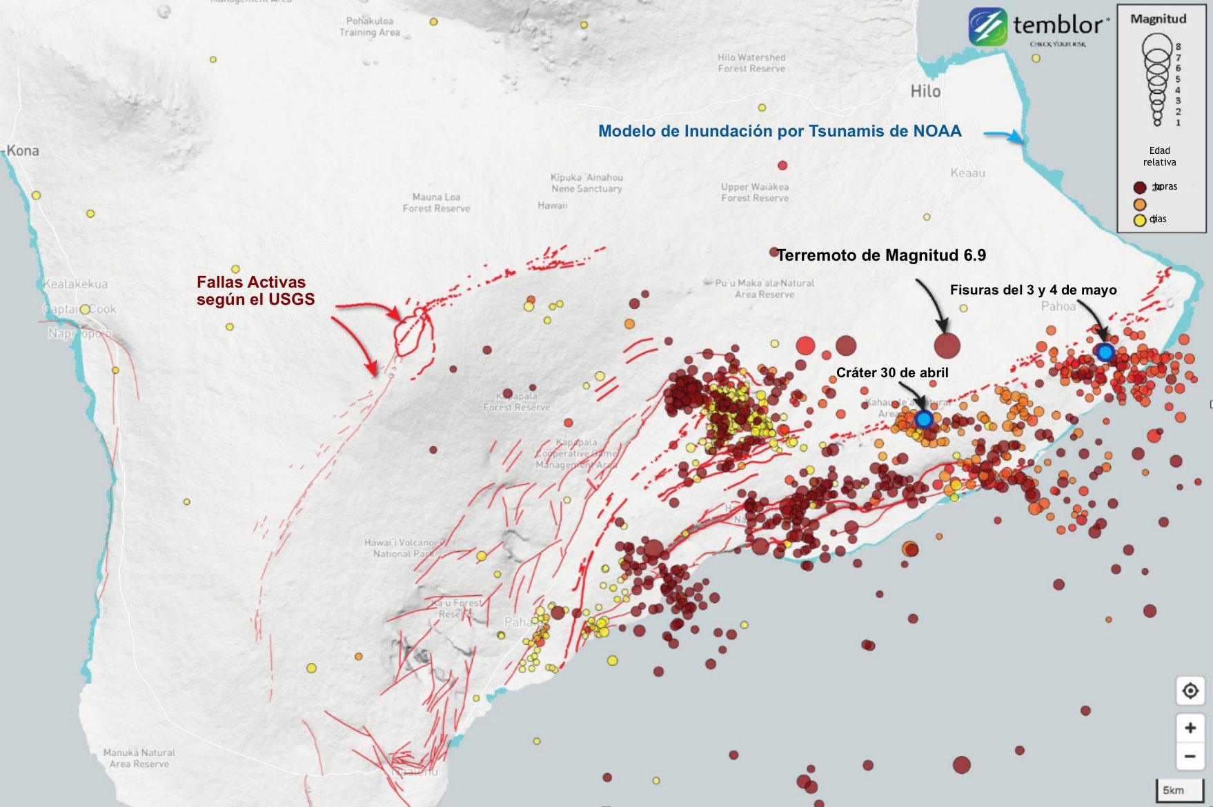 Este mapa de Temblor muestra terremotos, fallas y topografía sombreada.